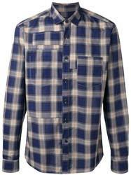 Lanvin Topstitched Patchwork Checked Shirt Blue