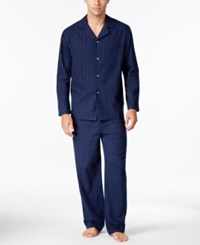 Club Room Men's Pinstriped Flannel Pajama Set Only At Macy's Navy
