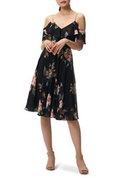 Jenny Yoo Kelli Ohana Print Chiffon Cold Shoulder Dress Black Multi