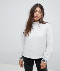 Noisy May Sweat With Slogan Sleeve Detail White