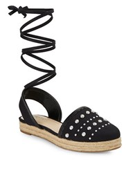 Imnyc Isaac Mizrahi Hilda Lace Up Espadrille Sandals Black