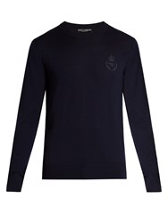 Dolce And Gabbana Crown Bee Embroidered Wool Sweater Navy
