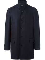 Canali Stand Up Collar Coat Blue