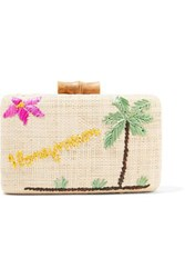 Kayu Embroidered Woven Raffia Clutch Neutral