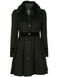 Loveless Fur Collar Flared Coat Black