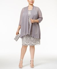 R And M Richards Plus Size Lace Dress With Sheer Chiffon Jacket Grey