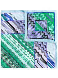 Missoni Zig Zag Print Scarf Women Silk One Size Green