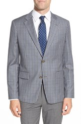 Nordstrom Classic Fit Check Wool Sport Coat Blue Grey