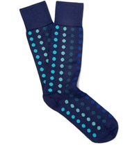 Paul Smith Polka Dot Cotton Blend Socks Navy