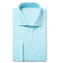 Richard James Blue Cutaway Collar Cotton Poplin Shirt Blue