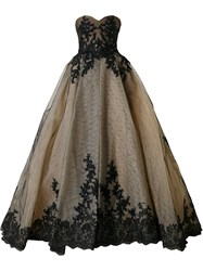 Mikael D. Strapless Ball Gown Black