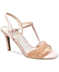 Adrianna Papell Alia T Strap Beaded Evening Sandals Women's Shoes Blush