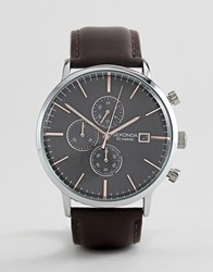 Sekonda Chronograph Leather Watch In Brown Exclusive To Asos
