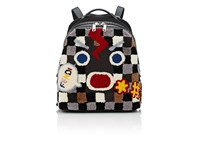 Fendi Men's Selleria Emoticon Shearling Convertible Backpack Light Grey