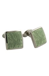 David Donahue Men's 'Paisley Lime' Sterling Silver Cuff Links