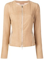 Drome Fitted Leather Jacket Brown
