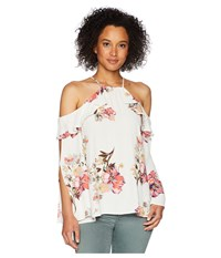 Miss Me Open Sleeve Floral Top Multi White Clothing