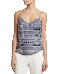 Veronica Beard Silk Multipattern Tank Blue Size 12 Prussian Blue