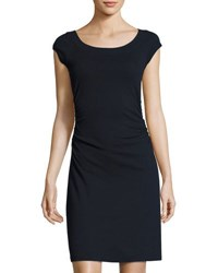 Three Dots Ballet Cap Sleeve Ruched Dress Navy