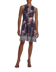 Maggy London Palm Print Dress Navy Coral