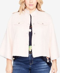 Rachel Roy Trendy Plus Size Cropped Tweed Jacket Ice Pink Combo