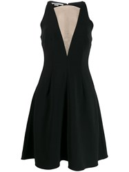 Stella Mccartney Sheer Panel Flared Dress Black