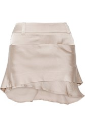 Haider Ackermann Layered Satin Mini Skirt Nude