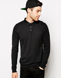 Asos Polo Neck Jumper With Leather Look Collar Black