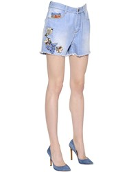 Ermanno Scervino Floral Embroidered Cotton Denim Shorts