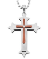 Macy's Men's Stainless Steel And Brown Ion Plated Stainless Steel Necklace Diamond Accent Cross Pendant