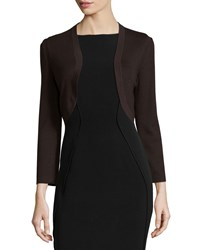 Carolina Herrera Cropped Sleeve Knit Bolero Smoky Umber