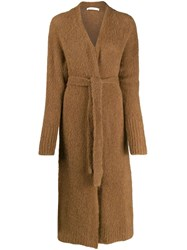 Tela Long Line Knitted Cardigan Brown