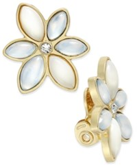 Charter Club Gold Tone White Stone Flower Clip On Earrings Only At Macy's
