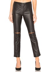 David Lerner Skinny Split Knee Faux Leather Pant Black