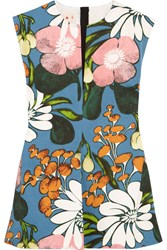 Marni Floral Print Cotton And Linen Blend Twill Top Blue