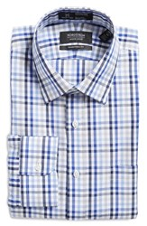Nordstrom Men's Big And Tall Smartcare Traditional Fit Check Dress Shirt Blue Surf