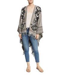 Etro Floral Embroidered Wool Cotton Tweed Cape Black