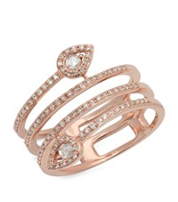 Kenza Lee Spiral Diamond Ring Female Rose Gold