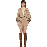 Y Project Beige And Pink Knit Button Dress