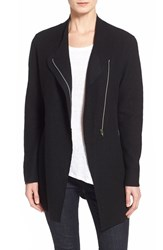 Women's Eileen Fisher Asymmetrical Boiled Merino Wool Jacket Black