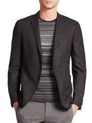 Z Zegna Slim Fit Silk Wool Dot Weave Jacket Black