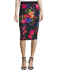 Milly Floral Print Midi Pencil Skirt Multi