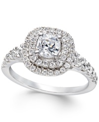 Macy's Certified Diamond Halo Engagement Ring In 14K White Gold 1 1 2 Ct. T.W. No Color