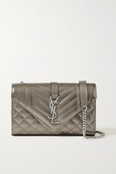 Saint Laurent Envelope Small Quilted Metallic Textured Leather Shoulder Bag Gunmetal