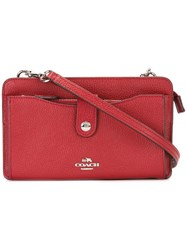 Coach Snap Closure Cross Body Bag Red
