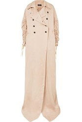 Ann Demeulemeester Oversized Ruched Double Breasted Crepe De Chine Coat Blush
