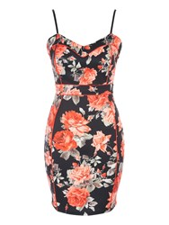 Jane Norman Coral Floral Seam Detail Dress Coral