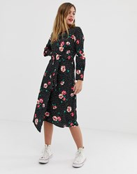 Influence Knot Front Asymmetric Wrap Dress In Floral And Polka Dot Print Black And Pink Floral