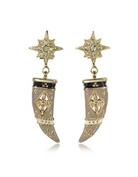 Roberto Cavalli Gold Tone Brass Enamel And Crystals Horn Earrings
