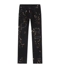 Dsquared2 Acid Wash Destroyed Patch Skater Jeans Male Black